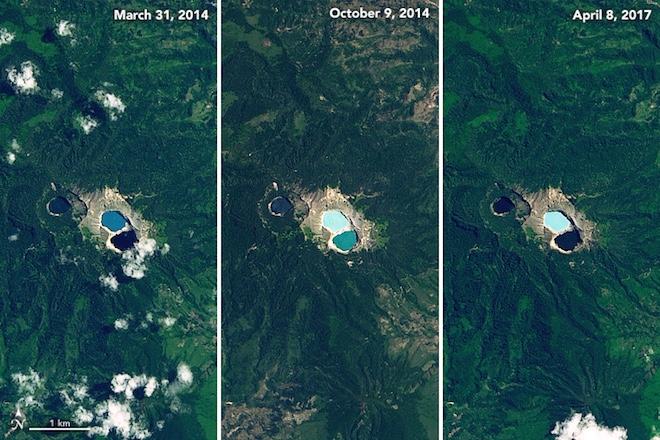 Заколдованные вулканические озера постоянно меняют цвет