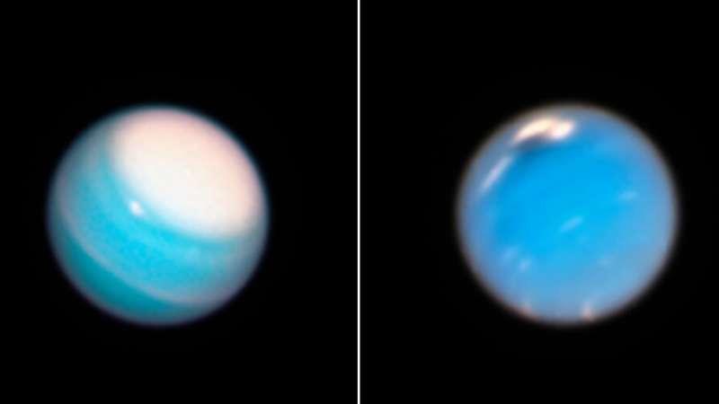 Хаббл показал динамические атмосферы Урана и Нептуна