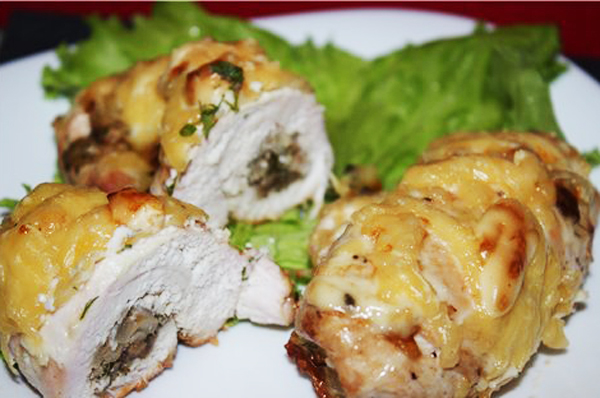 Рулетики куриное филе с грибами в духовке рецепты