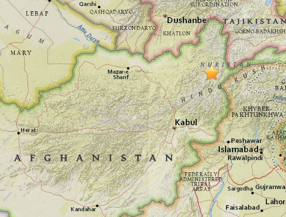 В Афганистане произошло землетрясение магнитудой 6.1