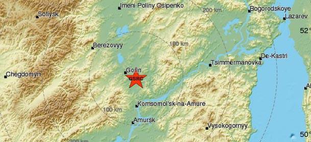 Землетрясение магнитудой 4.1 произошло в Хабаровском крае России