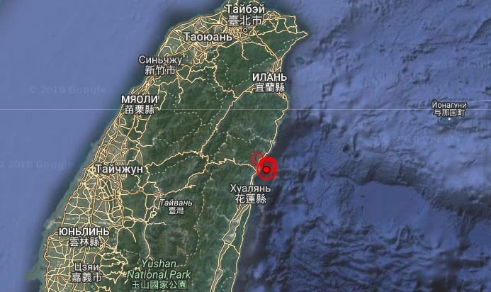 Землетрясение магнитудой 6.1 произошло у побережья Тайваня