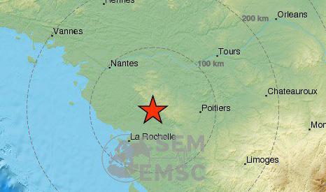 Землетрясение магнитудой 4.8 произошло во Франции