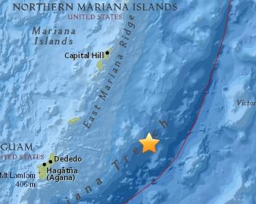 Землетрясение магнитудой 6.0 произошло вблизи Марианских островов