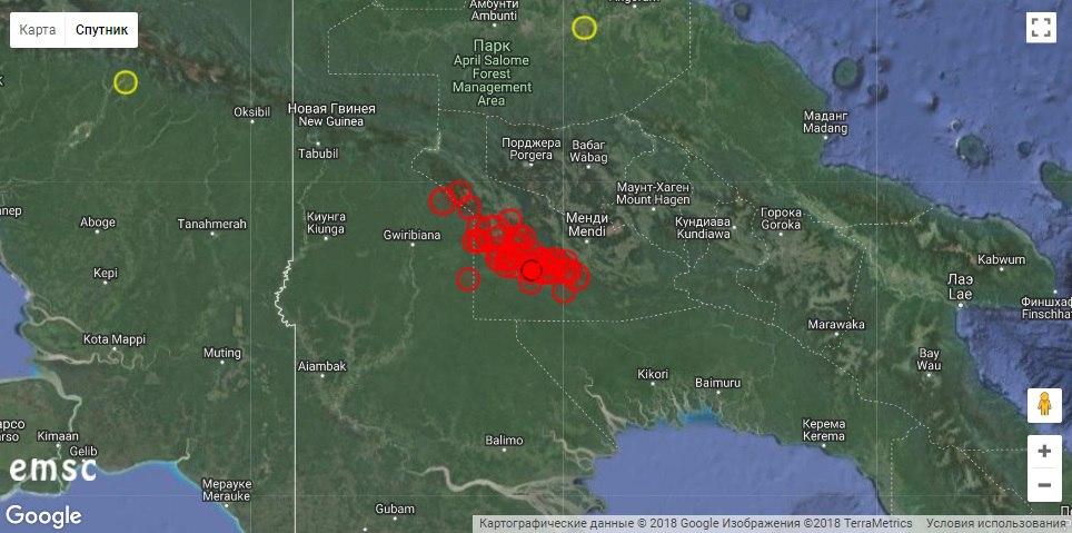 Папуа-Новую Гвинею продолжают сотрясать мощные землетрясения