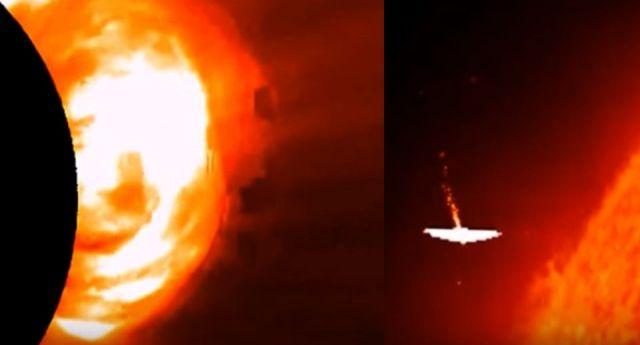 Огромные НЛО летают возле Солнца