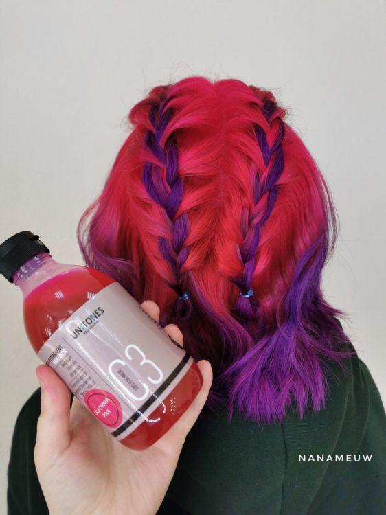 Розовая краска для волос Unitones 280ml California Pink - Светится в УФ Unitones CP280UAHI00010 / Цветная краска для волос