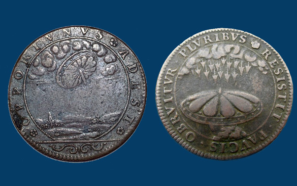 Нафранцузской монете XVII века показано НЛО