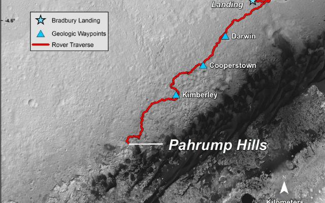 На карте показан маршрут передвижения марсохода от места приземления Bradbury Landing в августе 2012 года до Pahrump Hills, где он брал образцы породы 21 сентября 2014 года (иллюстрация NASA/JPL-Caltech/University of Arizona)